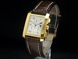 Cartier - CARTIER - Francaise LM クロノリフレックス W5000556 18KYG / leather perpetual calendar quartz mens