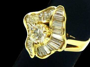 【NEW】 ダイヤモンド リング - RING - リーフデザイン 1粒&バケットダイヤ YG イエローゴールド 無垢 / ダイヤ (3.06ct) 指輪