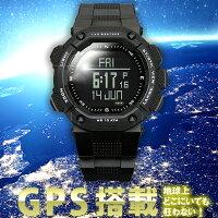 GPS搭載【LADWEATHERラドウェザー】アウトドア/ミリタリー腕時計登山/マラソン/ジョギング/トレーニング/ウォーキングメンズ/レディース腕時計