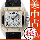 【中古】カルティエ メンズ サントス100 クロノグラフ XL SS・YGコンビ/ブラックレザー 自 ...