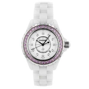 [Utilisé] Chanel J12 H2010 Mesdames Céramique Blanche 33mm Quartz Rose Saphir Lunette 12P Diamond Index