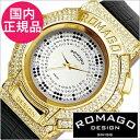 【おひとり様1点限り!】ロマゴ腕時計 ROMAGO時計 ROMAGO DESIGN 腕時計 ロマゴ デザイン 時計 トレンド シリーズ Trend series メンズ レディース シルバー RM025-0256ST-GDBK[クリスタル ストーン ミラーウォッチ ブラック ゴールド][入学 就職 祝い プレゼント ギフト]