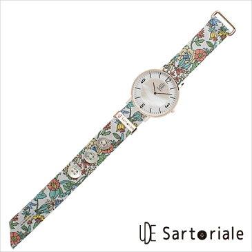 ウーデサルトリアーレ 時計 UDE Sartoriale 腕時計 花柄 白 ピンク レディース ホワイト D-03-BSDP11 正規品 薄型 シンプル スリム 丸型 ラウンド シェル 白蝶貝 日本製 布 人気 おしゃれ おすすめ スーツ ビジネス ファッション 個性的 大人 ウデ バンド 交換 フラワー