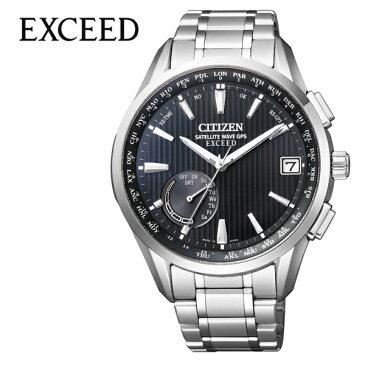 シチズン エクシード 腕時計 CITIZEN EXCEED 時計 メンズ ブラック CC3050-56F[正規品 アナログ ラウンド エコ ドライブ GPS 人気 おしゃれ ファッション ブランド ビジネス プレゼント ギフト]