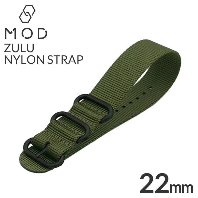 腕時計用アクセサリー, 腕時計用ベルト・バンド  22mm ZULU NYLON BELT BT-NYL-22-GS-OG-BK
