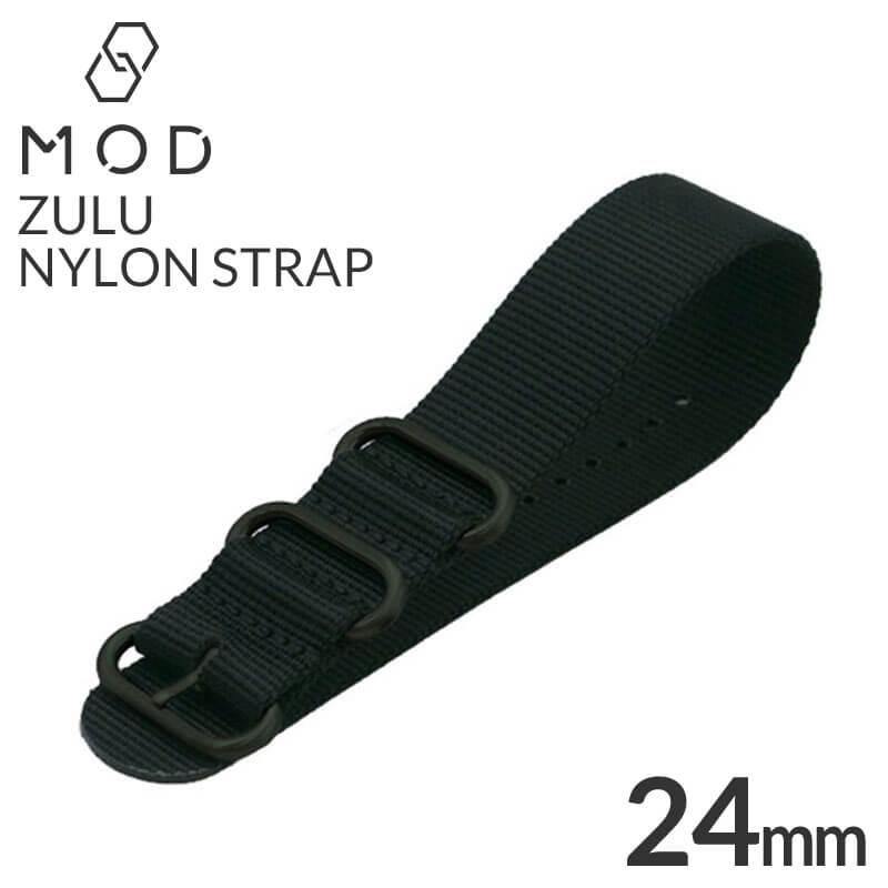 腕時計用アクセサリー, 腕時計用ベルト・バンド  24mm ZULU NYLON BELT BT-NYL-24-GS-BK-BK