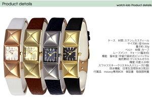 マウジー腕時計MOUSSY時計MOUSSY腕時計マウジー時計スタッズSTUDSレディース/ホワイト[革ベルト/正規品/おしゃれ/アナログ/ピンクゴールド/クリスタル/ストーン][送料無料][プレゼント/ギフト]