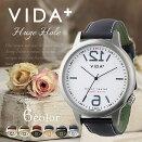 ヴィーダプラス腕時計VIDA+時計VIDA+腕時計ヴィーダプラス時計ヒュージホールHugeHoleメンズ/レディース/アイボリーVD-45917-GD-LGL[正規品/新作/防水/人気/革/レザーベルト/ビックフェイス/ユニセックス/ゴールド/ブラウン]