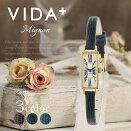 ヴィーダプラス腕時計VIDA+時計VIDA+腕時計ヴィーダプラス時計ミニョンMignonレディース/ホワイトVD-83921-LE-BK[正規品/新作/防水/人気/革/レザーベルト/スクエア型/細ベルト/ブラック/ゴールド]