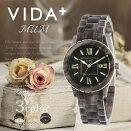 ヴィーダプラス腕時計VIDA+時計VIDA+腕時計ヴィーダプラス時計マムMUMレディース/アイボリーVD-85010-BR[正規品/新作/防水/人気/アセテート/ゴールド/ブラウン]