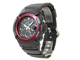 【CASIOG-SHOCK】カシオGショックアナログ×デジタル腕時計レッドAW591-4ADR