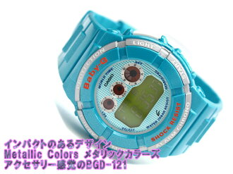 Casio baby G overseas model digital ladies Watch Blue metal green * Orange Crystal metallic blue urethane belt BGD-121-2