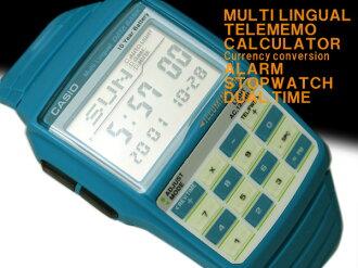 + Casio databank overseas model digital watch Mondo style 08 model turquoise urethane belt DBC-32C-2