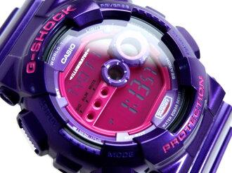 + Casio overseas model G shock mens digital watch pink liquid metallic purple polyurethane belt GD-100SC-6