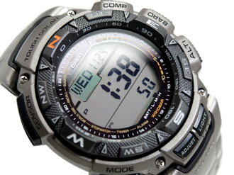 Reimport foreign model protrek solar triple sensor with digital watches Matt silver Titan belt PRG-240T-7