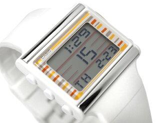 カシオポップトーンバイブアラーム deployment Lady's watch orange carafe Lebeaux da white urethane foreign countries model LDF-12-7C fs3gm