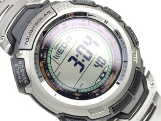 + Casio overseas model protrek radio tough solar triple sensor with digital Watch Silver / Black Silver titanium belt PRW-1300T-7VER
