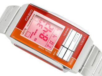 + Casio overseas model Futurist ladies digital watch Orange x red Combi color pink dial-LA-201W-4A