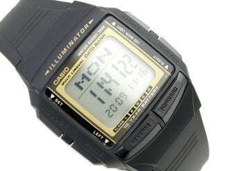 Casio databank overseas monopoly model unisex digital watch black / gold urethane belt DB-36-9AVDF