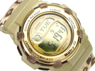 Casio baby G overseas model digital watch Reef Gold Dial-Leopard pattern crossed leather belt BG-3000V-5