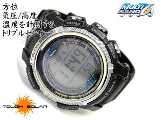 + Casio overseas model Pathfinder triple sensor with digital watch black urethane belt PAW-2000-1