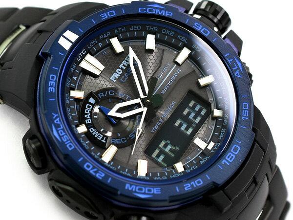 プロトレック PROTREK カシオ CASIO ブルーモーメント 逆輸入海外モデル トリプルセンサー搭載 電波ソーラー アナデジ腕時計 ブラック ブルー PRW-6000SYT-1CR PRW-6000SYT-1