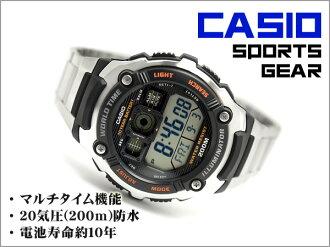 CASIO Casio reimport foreign model SPORTS GEAR sports gear mens digital watch black / orange stainless steel belt AE-2000WD-1AVDF