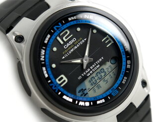 Fishing gear an analog-digital ムーングラフ features powered mens watch black × blue dial black polyurethane belt AW-82-1AVDF
