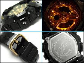 【CASIOBaby-G】カシオベビーG海外逆輸入モデルレディースアナデジ腕時計ブラック×ゴールドウレタンベルトBA-110-1ADR