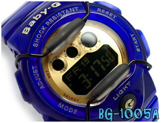 Casio baby G ladies digital watch Jelly Marine Series Jerry Marin-series deep blue x Gold skeleton BG-1005A-2DR