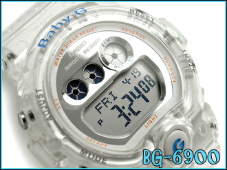 + Casio baby G ladies digital watch Jelly Marine Series clear x metallic silver skeleton BG-6900-7BDR