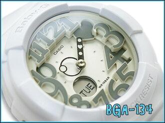 + Neon dial series an analog-digital watch, Casio baby G White x gray BGA-134-7BDR