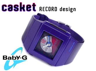 + CASIO baby-g Casio baby G Casket casket CD record motif model an analog-digital watch purple BGA-201-2EDR BGA-201-2
