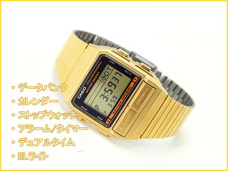 + Imports overseas model DATA BANK data bank unisex Digital Watch Gold stainless steel belt DB-380G-1DF