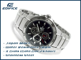 Casio overseas model edifice analog Multifunction mens watch stripe Black / Silver EF-335D-1AVDF