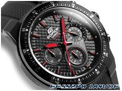 【ポイント2倍!+全商品送料無料!!】【CASIO EDIFICE】カシオ 日本未発売海外モデル エディフィス アナログ クロノグラフ メンズ腕時計 ブラックカーボンダイアル ウレタンベルト EF-552PB-1A4VDF