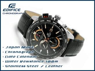 Casio Japan not released overseas model edifice analog chronograph men's Watch Black / Rose Gold black leather belt EFR-520L-1AVDF