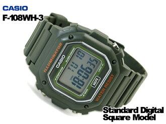 CASIO Casio reimport foreign model standard digital watch khaki green F-108WH-3ACF f-108WH-3