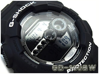 Reimport foreign model Casio G shock digital mens watch garish black GD-100BW-1DR