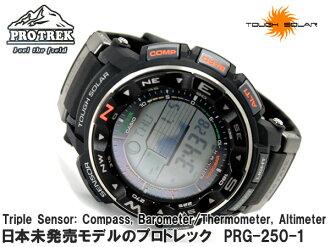 + Casio overseas model protrek triple sensor with solar digital watch black PRG-250-1DR