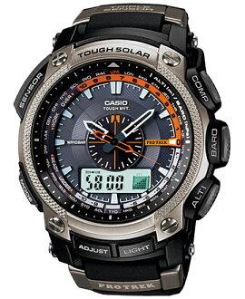 Proto Lec PRO TREK Casio electric wave ソーラーアナデジ watch black silver PRW-5000-1JF fs3gm