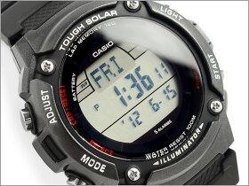 【送料無料!+ポイント2倍以上!!】CASIOカシオ逆輸入海外モデルSPORTSGEARスポーツギアソーラー電波メンズデジタル腕時計ブラックウレタンベルトW-S200H-1BVCF