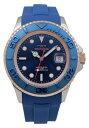 【訳あり:A】【アウトレット時計】【正規品】【テクノス】【腕時計】TECHNOS/テクノス T4418SN 回転ベゼル ウレタンバンド 10気圧防水 腕時計 メンズ ブルー×ピンクゴールド