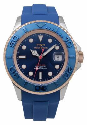 【訳あり:A】【アウトレット時計】【正規品】【テクノス】【腕時計】TECHNOS/テクノスT4418SN回転ベゼルウレタンバンド10気圧防水腕時計メンズブルー×ピンクゴールド