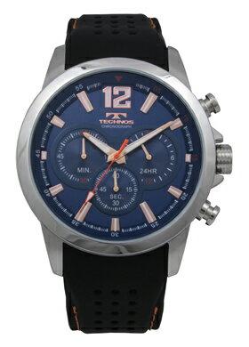 【訳あり:A】【アウトレット時計】【正規品】【テクノス】【腕時計】TECHNOS/テクノスT6459SNクロノグラフシリコンバンド5気圧防水腕時計メンズブルー×ピンクゴールド