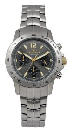 【訳あり:A】【アウトレット時計】【正規品】【テクノス】【腕時計】TECHNOS/テクノスT7447SHクロノラフオールステンレス10気圧防水腕時計メンズブラック×ゴールド