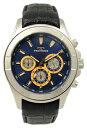 【訳あり:A】【アウトレット時計】【正規品】【テクノス】【腕時計】TECHNOS/テクノス T9452SN クロノグラフ 牛革バンド 3気圧防水 腕時計 メンズ ブルー×ゴールド