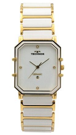 【訳あり:A】【アウトレット時計】【正規品】【テクノス】【腕時計】TECHNOS/テクノスT9535GWセラミックモデル腕時計メンズホワイト×ゴールド