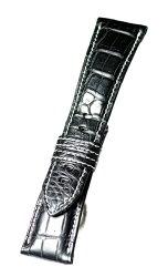 MSW112aw26松重のお薦め品【東京職人本格手作り-厳選マットクロコ白糸ステッチ超肉厚6mm使用感満点!】-色:黒/ベルト幅:26mm