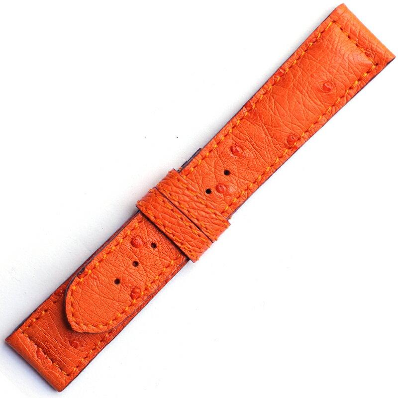 MSD079o1820【希少クィルマーク オーストリッチ・厚手】使用感満点!- 色:| オレンジ ベルト幅:18,19,20mm- 厚さ:約5-2mm